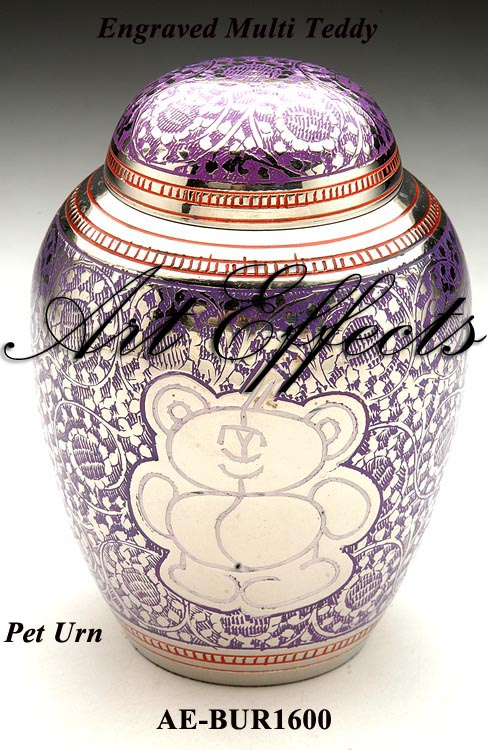 Engraved Teddy Bear Brass Infant Cremation Urn
